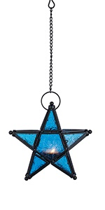 blue star tea light candle holder
