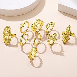 B, anelli Boho: 9 pezzi