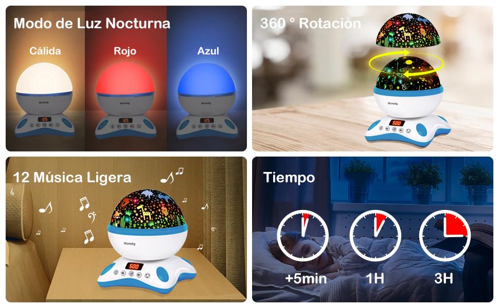 Moredig Proyector Estrellas Bebé, Lámpara Proyector Infantil Luz ...
