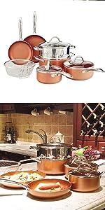 copper pans set