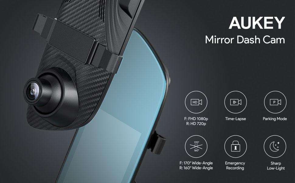LCD-Touchscreen mit R/ückkamera und Parkmodus 6,8 Zoll AUKEY Dash Cam Spiegel 170/° und 1080p Frontkamera und 160/° R/ückkamera und 720p wasserfest 6,8 cm