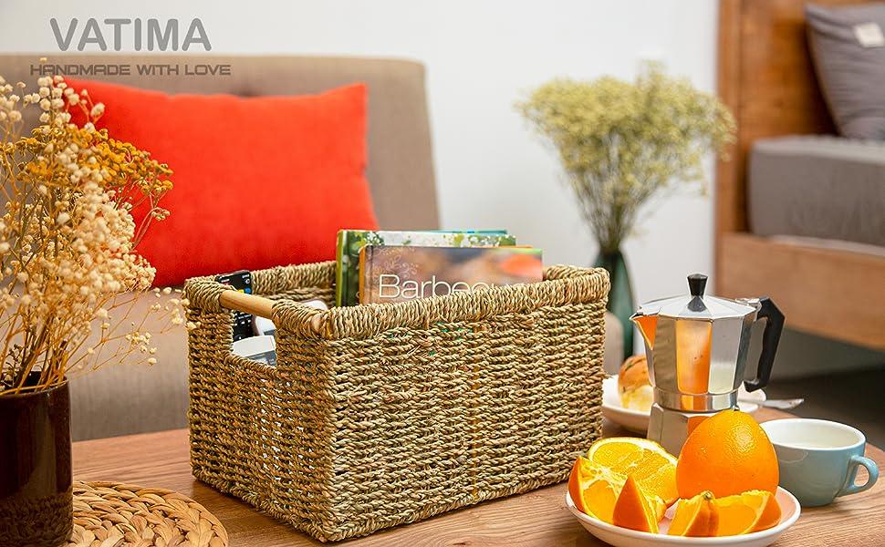 Seagrass wicker storage baskets set