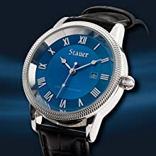 Stauer Men's Urban Blue Watch with Black Leather Strap