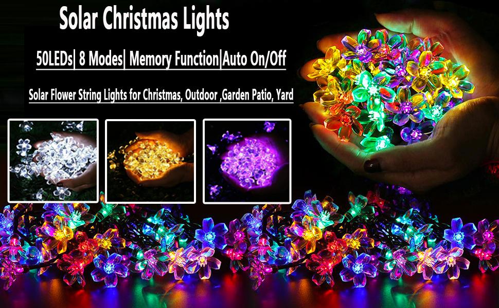 50 LEDs 7M Peach Ledertek Fleur Lampe Solaire Puissance LED String Fairy Lights Guirlandes Solaires Jardin De No/ël D/écor pour Ext/érieur Color : Color