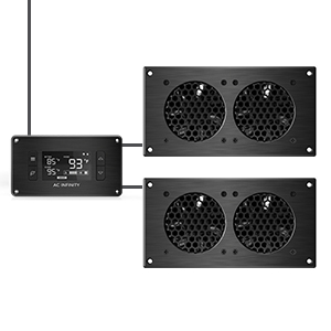 AC Infinity AIRPLATE T5 Quiet Cooling Blower Fan System with Speed Control Home Theater AV Cabinets