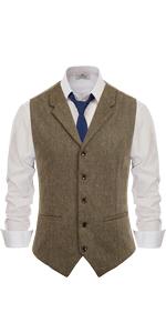 Tie Vest Vintage Herringbone Tailored Fit  S-XL-3XL Details about  /Retro Mens Tweed Waistcoat