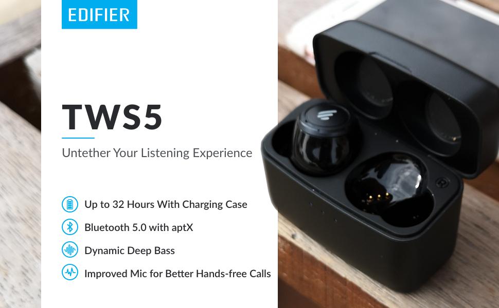 Tws, wireless, earbud, edifier, headphones, case, truly, earphone, bluetooth, stereo, battery, sound