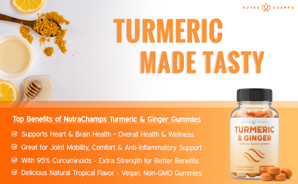 turmeric gummies for children women and men black pepper curcumin ginger extract