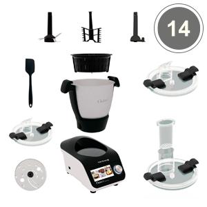IKOHS Robot de Cocina Multifunción CHEFBOT Touch. 23 Funciones, 12 Velocidades con Turbo, WiFi, hasta 120ºC, Programable, Libre BPA, Recetas Preinstaladas (Pantalla táctil + vaporera - Black & White): Amazon.es