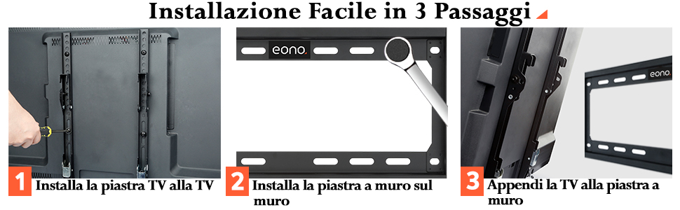 Supporto TV Parete Inclinabile Staffa TV per Televisori 26 42 49 55 Pollici VESA 400x400 PL2268-MK