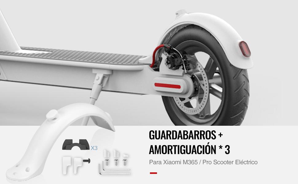 AGPTEK Guardabarros M365, Guardabarros Trasero para Xiaomi M365 Eléctrico Scooter con 3 Piezas Amortiguador de Silicona 0.6mm/0.8mm/1.2mm, Blanco