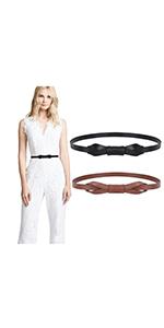 Women Leather Skinny Belt