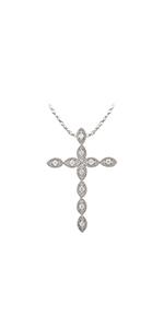 Diamond Cross Pendant Sterling Silver