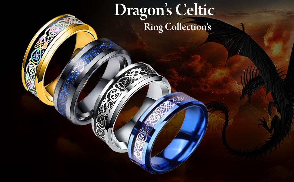 Blue Dragon Stainless Steel Blue Ring Stainless Steel Bikers Ring for men titanium men ring