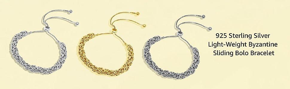 Sterling Silver Sliding Bolo Byzantine Bracelet