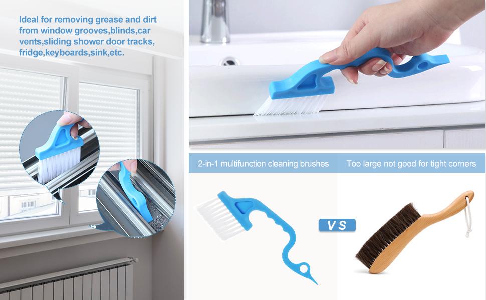 2 in 1 Keyboard Crevice Cleaner Slide Rail Gap Corner Vent Cleaning Tools Window Track Groove Brush Dustpan Multipurpose Kitchen Door Hand-held Cleaning Tools
