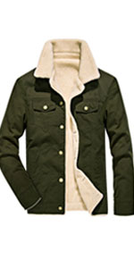 HOWON Mens Cotton Warm Fur Collar Casual Button Military Cargo Jacket Outwear Parka Winter Quilted Coat Khaki XL