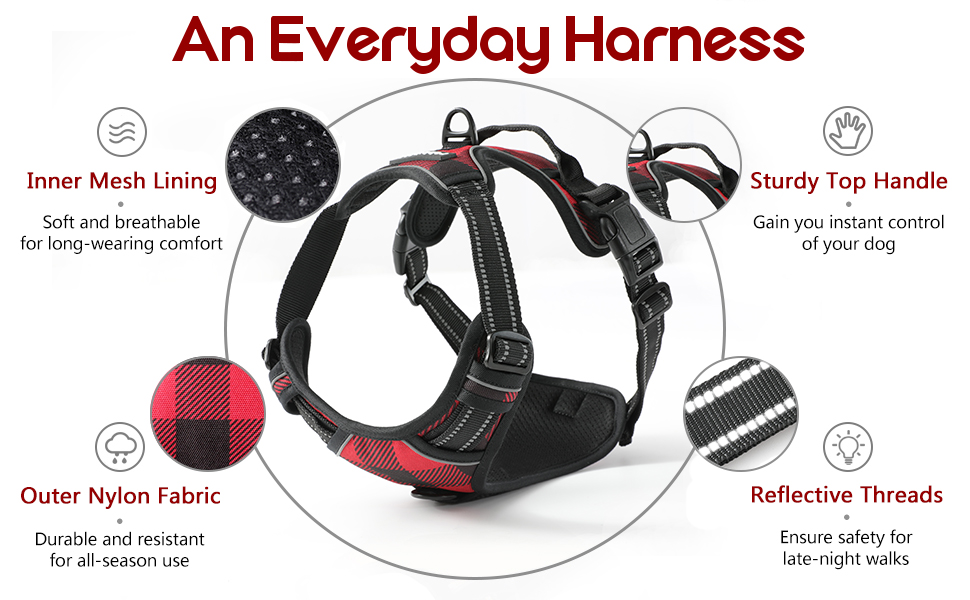 rabbitgoo dog harness no pull large medium small all weather breeds use comfortable reflective vest