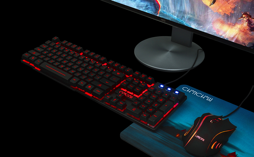 rgb gaming keyboard mouse mechanical blue switch