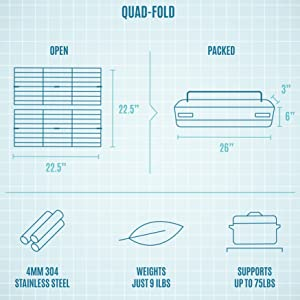 Quad-Folding grill grates pack up small yet open up larger than a 5 burner grill
