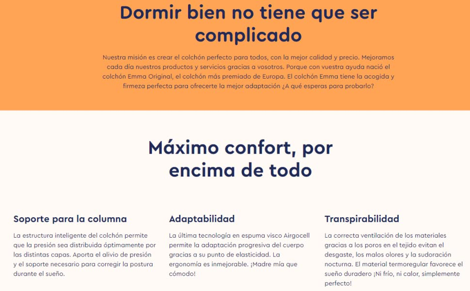 Emma Original 150x190 | Colchón Viscoelástico | Mejor Colchón de España según el Test | Tecnología Alemana | 100 Noches de Prueba (Todas Las Medidas)