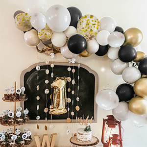 black balloon garland