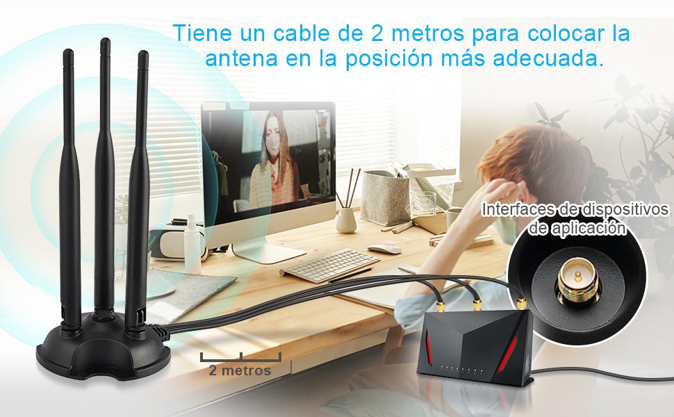 Bingfu Antena WiFi Banda Dual RP-SMA Macho 2.4GHz 5GHz 5.8GHz Base Magnética 6dBi MIMO para ASUS TP-Link Fenvi Rosewill Gigabyte Tarjeta de Red ...