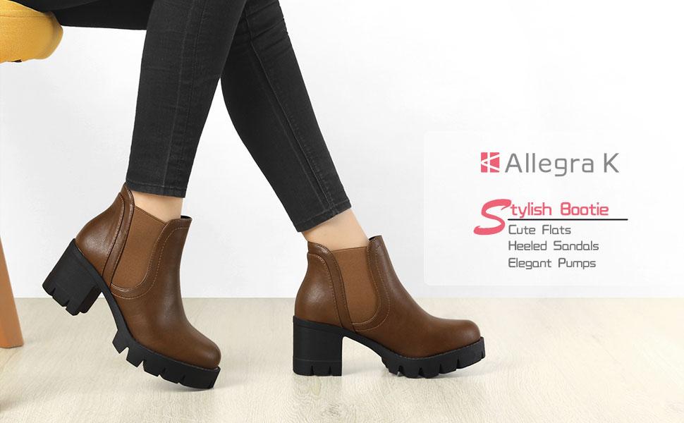 Allegra K Women's Lug Sole Chunky Heel