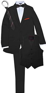 Slim suit, boys, formal, black