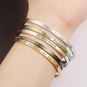 Lademayh Inspirational Cuff Bracelet