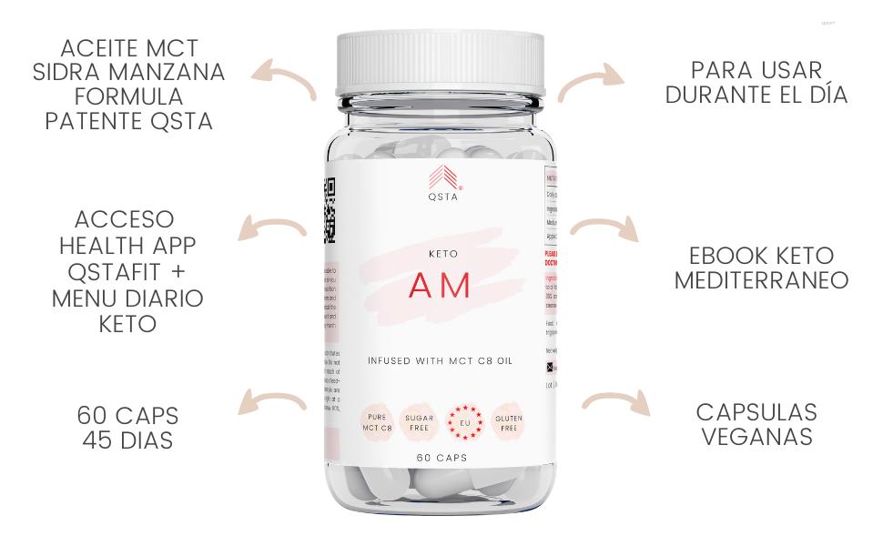 Keto Plus Actives AM+ (60 CAPS + 45TIRAS) - Quemagrasas potente y rapido para la dieta keto y low-carb, Quema grasas + Aceite MCT C8 + Vinagre de ...