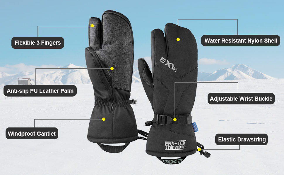 winter waterproof ski mittens
