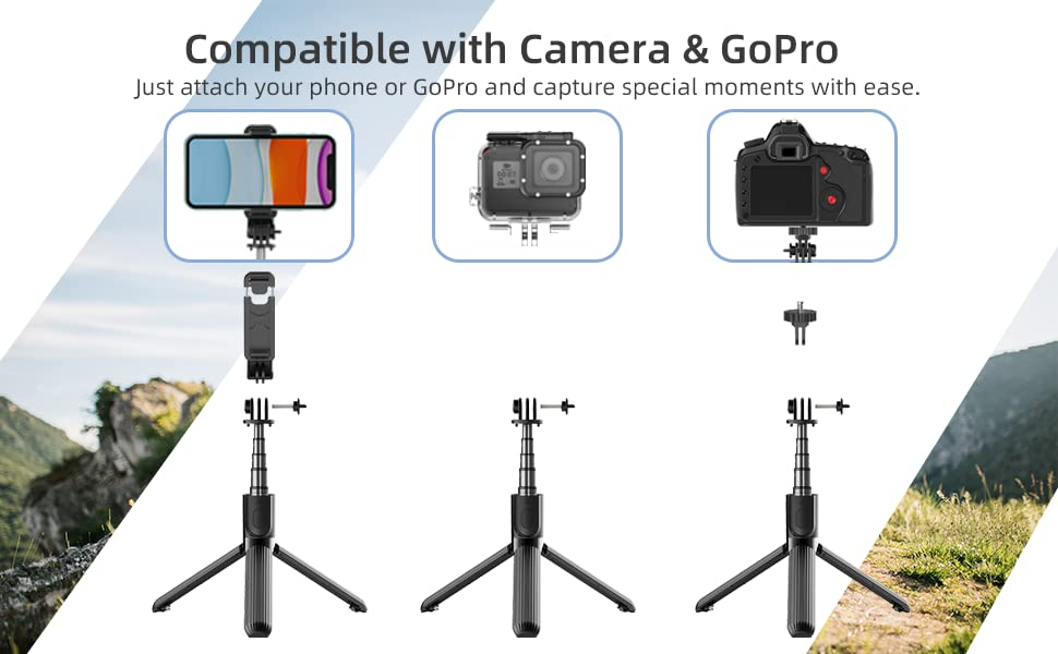 Lightweight Aluminum All in One Extendable Selfie Stick   Compatible with iPhone Android Phone