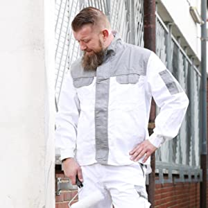 Work Jacket Painters Jacket Safety Jacket Waistband Jacket Workwear White S-XXXL