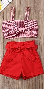 Red Plaid Tube Top Shorts Set