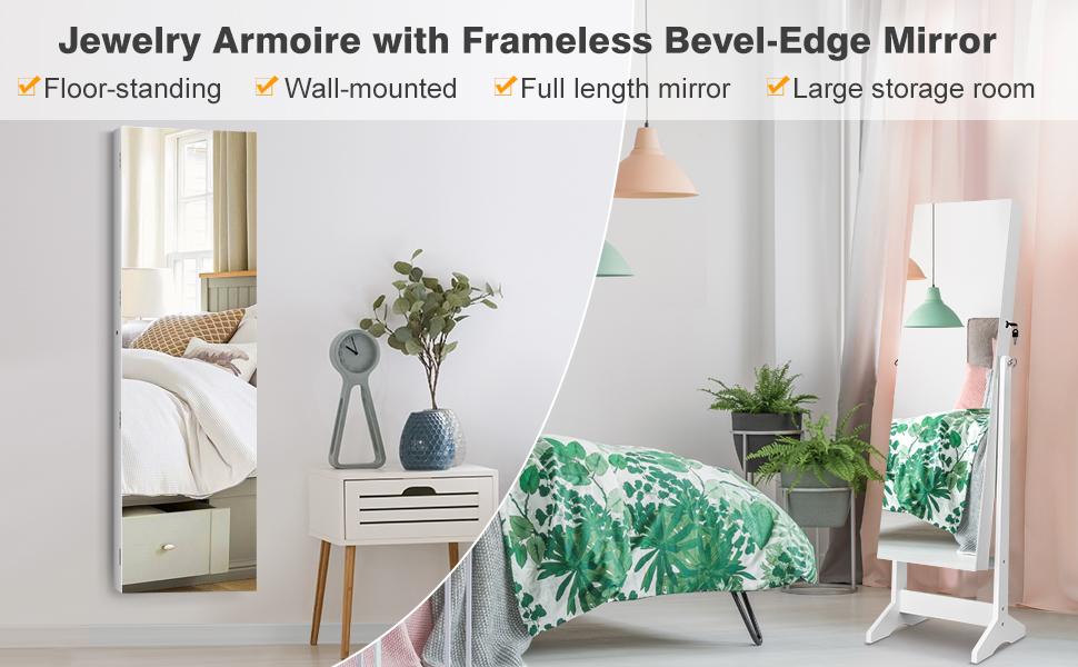 Frameless Bevel-Edge Mirror Jewelry Armoire