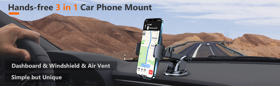 hands-free 3 in 1 car phone mount