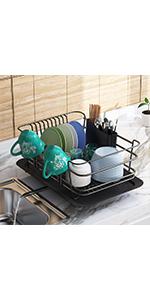 Adjustable Large Dish Drainer Shelf with Utensil Holder, Over the Sink Storage Rack Organizer