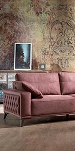 Amazon.com: Casa Mare Luna Tufted Arm Sofa | Couch | Sofa ...
