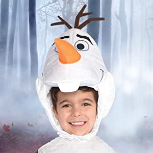 Olaf costume closeup, movie hero, colorful snowman, tunic headpiece, cute funny