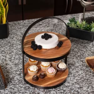 food display, cupcake stand, cake stand, party food stand, food stand with handle., wooden stand