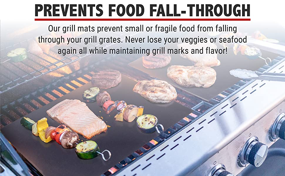 Prevents Food Fall-Through. Our grill mats prevents small or fragile food from falling through