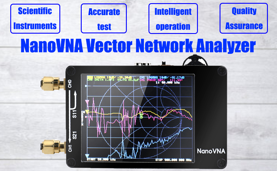 Vector Network Analyzer, KKmoon Portable Handheld Vector Network Analyzer  50KHz-900MHz Digital Display Touching Screen Shortwave MF HF VHF UHF  Antenna