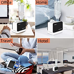 Hotel Black Home Office CLBO Ultrasonic Mini Cool Mist Humidifier Portable Diffuser Waterless Auto Shut-Off,Whisper-Quiet Operation for Travel