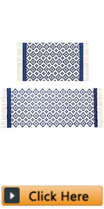Moroccan Cotton Area Rug Set 2 Piece Machine Washable Printed Cotton Rugs with Tassel