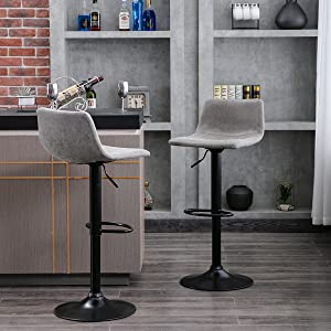 Amazon Com Height Adjustable Barstools For Pub Kitchen And Home Bar With Back Swivel Bar Chairs Vintage Vinyl Leather Set Of 2 Retro Grey Kitchen Dining