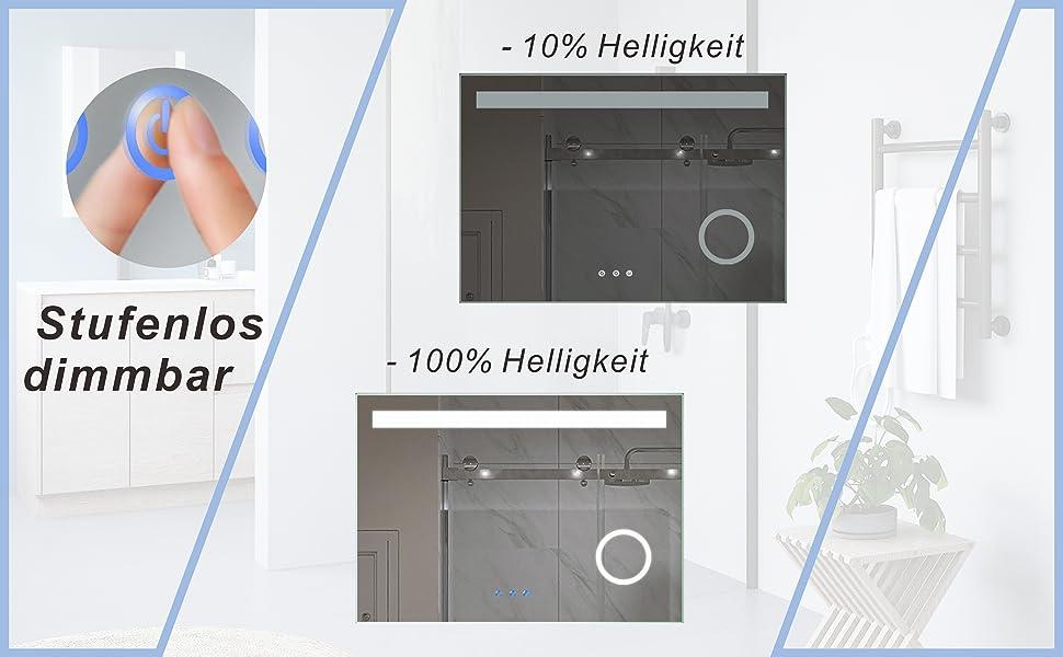 Badspiegel mit LED Beleuchtung Kosmetikspiegel 100x70 DALES Typ C
