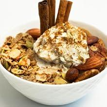 keto granola with ice cream and cinnamon