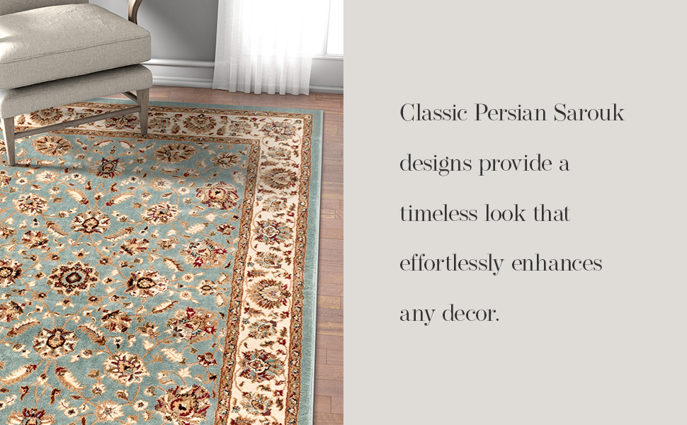 Well woven area rug stain resistant high traffic child pet safe traditional oriental persian sarouk