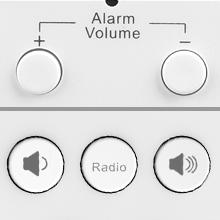 alarm volume/radio volume